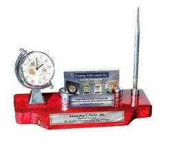 Desk Clock Spinning Globe Silver Corporate Logo Business Card Holder Case Pen