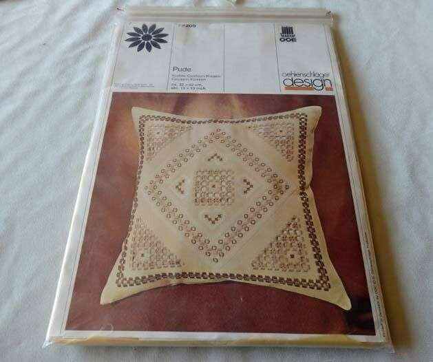Vintage Oehlenschlager Hardanger Embroidery Pillow Kit