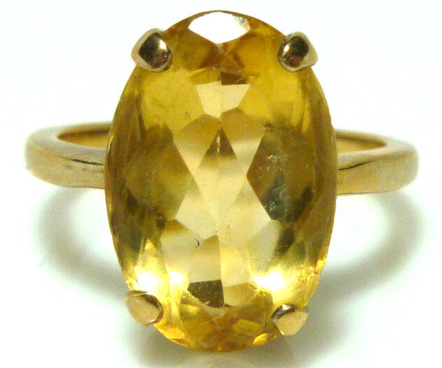 14K YELLOW GOLD OVAL CITRINE VINTAGE ESTATE WOMENS COCKTAIL RING SIZE 5.75