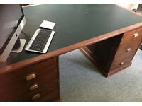 Solid Wooden desk with green leather inlay