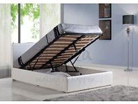 ☀️💚☀️SUPERB QUALITY☀️💚☀️ DOUBLE OTTOMAN STORAGE BED FRAME ( BLACK,BROWN & WHITE )