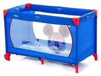 Blue Mickey Mouse Hauck Travel Cot