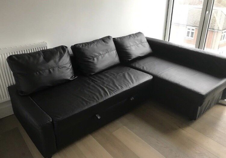 Ikea Friheten Black Leather Sofa Bed Great Condition Can Deliver