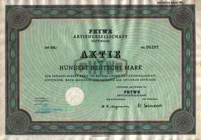 PHYWE AG 1955 Göttingen Duderstadt Hamburg Hannover 100 DM Gewinnanteilscheine
