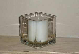 Square Glass Candle Holder ... Indoors or Outdoors