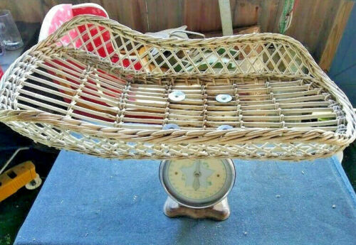 Vintage Baby Scale With Wicker Basket