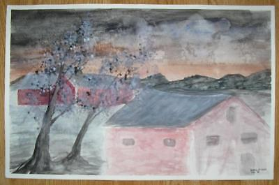 AMERICANA FOLK ART PINK HOUSE DUSK GRAY SKY TWILIGHT PRIMITIVE W/C OOAK PAINTING