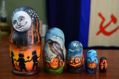 Halloween Nesting Doll Matryoshka, Hand Painted doll, Made In Russia