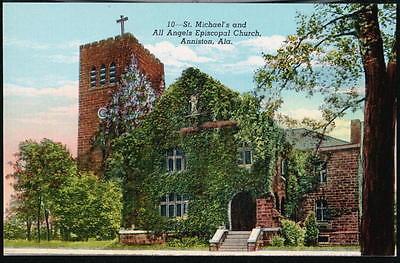 ANNISTON AL St Michael's & All Angels Episcopal Church Vtg Alabama Postcard Old