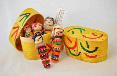 5x Large Guatemalan Worry Dolls in a BOX - Hand Made Mayan Trouble Doll 2