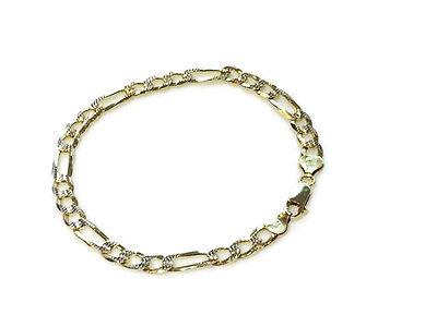 Men's Solid Sterling Silver 14k Yellow Gold Figaro Link 6mm Italian Bracelet