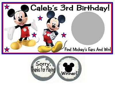 10 Mickey Mouse Clubhouse Birthday Party Scratch Off Game Cards Tickets - Mickey Mouse Birthday Games
