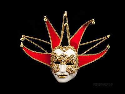 Mask from Venice Volto Jolly Macrame Red Black - Mask Venetian Joker 277