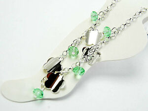 11-Silver-Green-Crystal-Flower-Anklet-Body-Jewelry