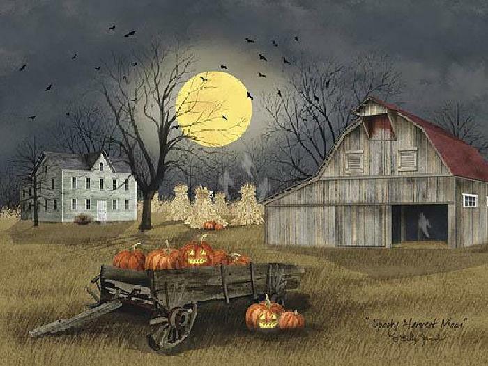 Billy Jacobs Spooky Harvest Moon Farm Art Print-16 x 12