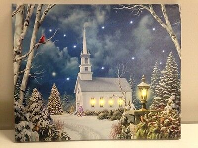 Church in Woods Winter Photo on Canvas w Led Lights Wall Art Christmas Decor