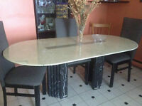 *Italian marble dining room table/chairs-Moving Sale-St.Leonard