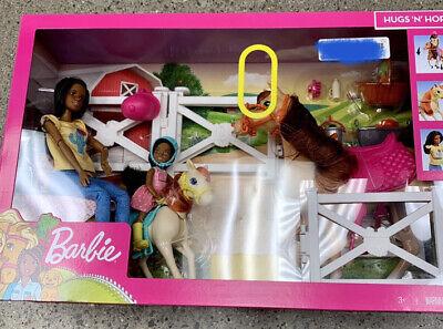 Barbie Hugs And Horses Playset.Barbies Are Dark Hair, Brown Eyes, Brown Skin.