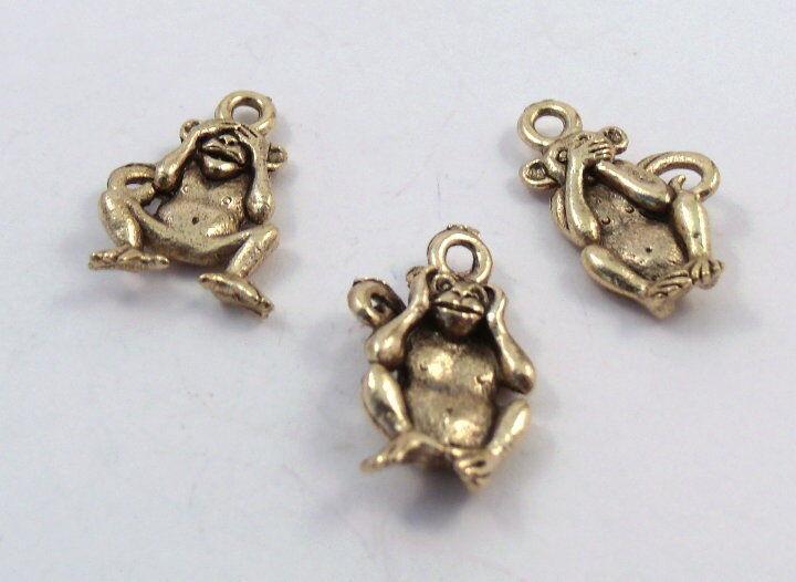 Three Wise Monkeys Gold Tone Charms - See No Evil, Hear No Evil, Speak No Evil