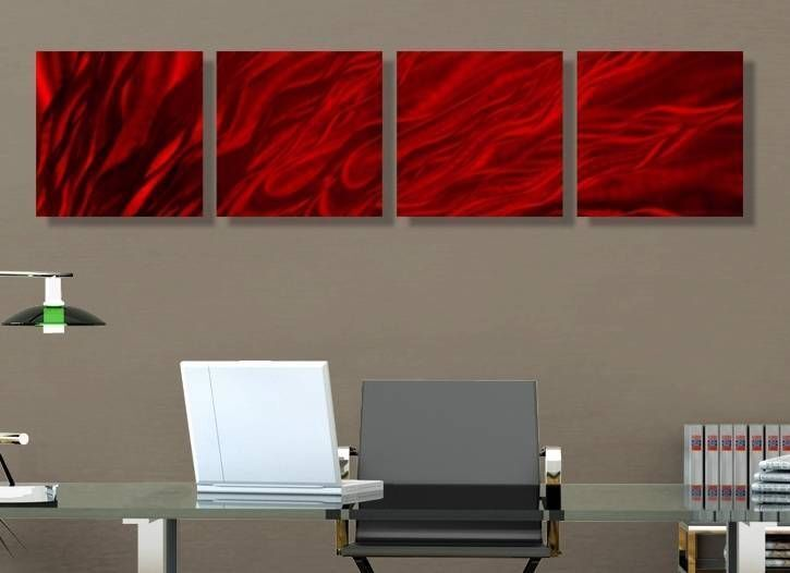 Statements2000 Metal Wall Art Abstract Red Accent Panels Modern Decor Jon Allen