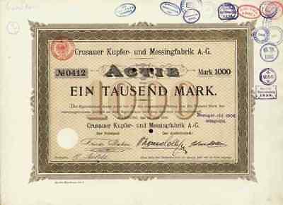 Crusauer Kupfer Messingfabrik Hamburg 1889 Schleswig Holstein Flensburg 1000 M