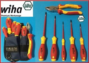 wiha 6 pce trades set 5 slimfix slotted pozidriv screwdrivers pliers pouch ebay. Black Bedroom Furniture Sets. Home Design Ideas