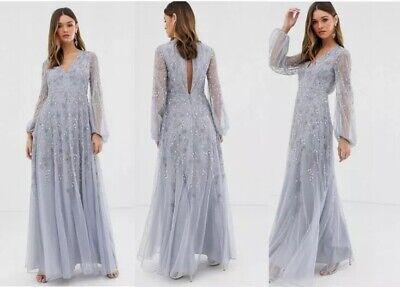 Asos Edition Maxi Party Evening Sequins Embellished Vintage Flapper 20's Dress