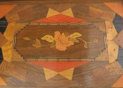 Antique Victorian Marquetry Tray Serving Butler Wood Ornate Chip Carved Handmade