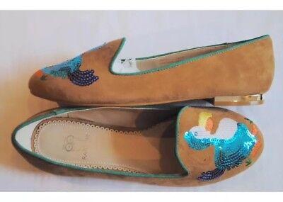 Rara Avis Iris Apfel Suede Smoking Loafer Dodo Bird Sequin Tan Flats Size 7.5