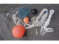 Mooring tackle CQR anchor and various buoys and ropes