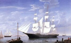 Oil-painting-Fitz-Hugh-Lane-Star-Light-in-Harbor-Big-sail-boat-canvas-24-x36