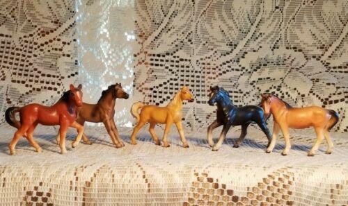 Vintage Lot of 5 Hand Painted Porcelain Bone China Miniature Horse Figurines MIJ