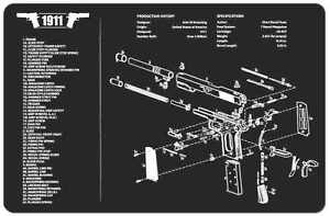 M1911a1 Armorers Gun Cleaning Bench Mat W Exploded View