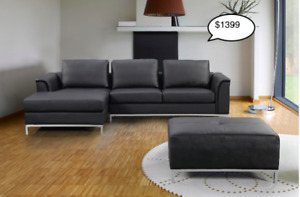 Genuine Leather or Fabric Sofa with L or R Chaise and Ottoman