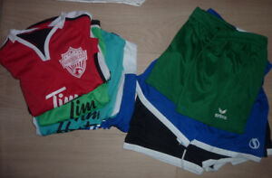 4 Tim Hortens soccer jerseys with pants, size 5 - 8 years $ 3 ea