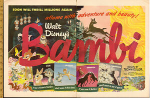 1948 authentic 2-page, color print ad for Disney's Bambi