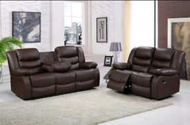 Brown Bonded leather 3&2 Seater Recliner sofa set New free local deliv