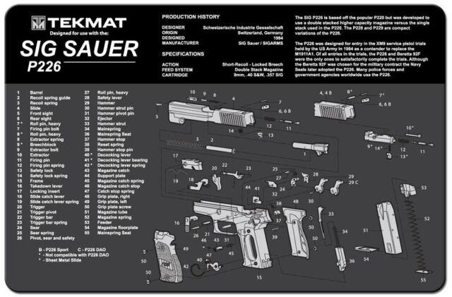 Sig Sauer P226 Armorers Gun Cleaning Bench Mat Exploded