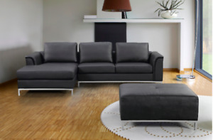 Sectional Sofa with Chaise &Ottoman in Fabric & Genuine Leather