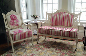 Wood frame settee and chair