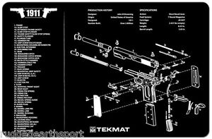 New 1911 Handgun Tekmat Gun Cleaning Mat 11 X17 With Parts