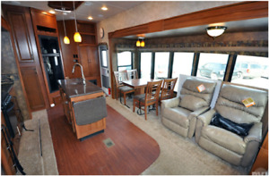 Sandpiper 356RL fifth wheel on waterfront lot