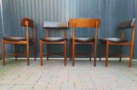 4 Kofod Larsen G-Plan Dining Chairs Leather Vintage Retro MCM