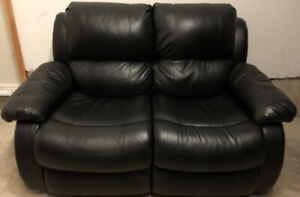 Black Bonded Leather Recliner Love seat