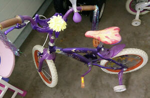 Cute 16 inch girls' Tinkerbell bike with training wheels
