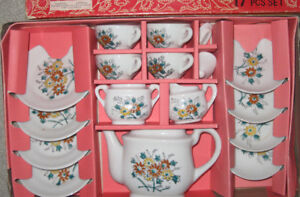 vintage 17 piece miniature tea set, 1971