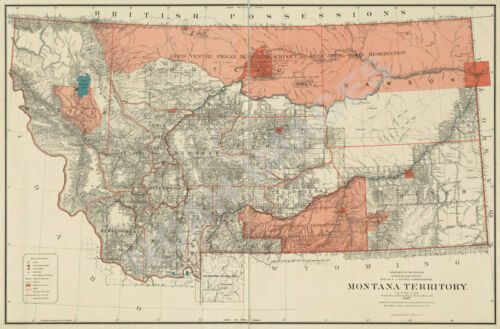 Map of Montana Territory Great Plains c1887 24x36