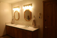Dual Basin Bathroom Cabinet, Mirrors, Lights +++