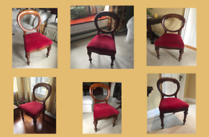 6 Antique Victorian balloon back dining chair set
