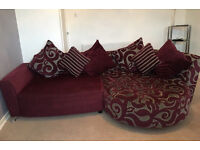 Dfs fabric sofa and swirl chair